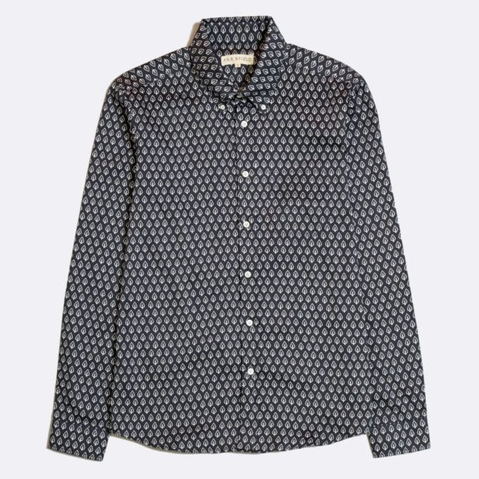 Far Afield Mod Button Down Long Sleeve Shirt a Dark Navy Organic Cotton Classic Fabric Tailored Smart Casual