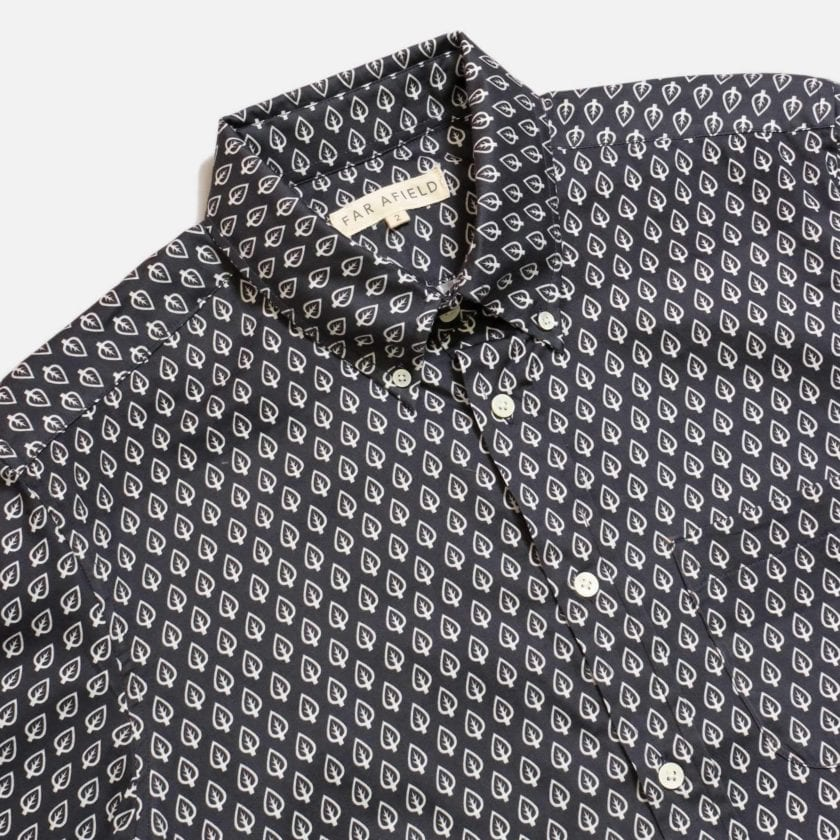 Far Afield Mod Button Down Long Sleeve Shirt a Dark Navy Organic Cotton Classic Fabric Tailored Smart Casual 5