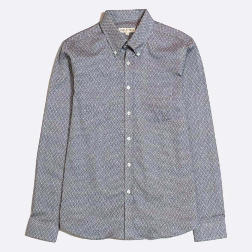 Far Afield Mod Button Down Long Sleeve Shirt a Navy Organic Cotton Classic Fabric Tailored Smart Casual