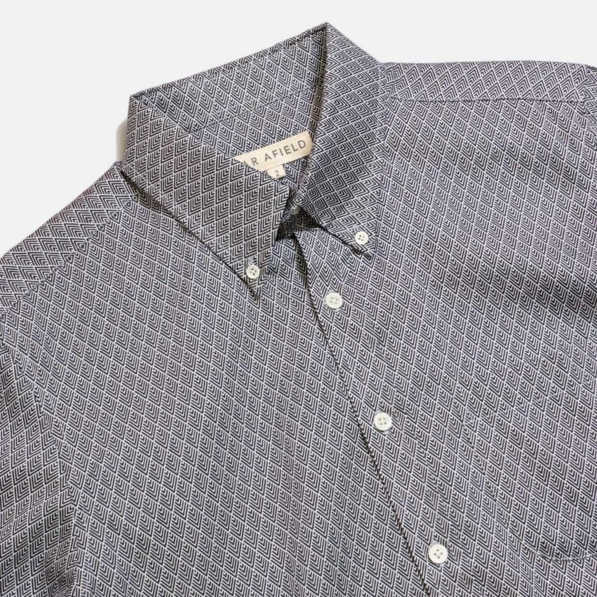 Far Afield Mod Button Down Long Sleeve Shirt a Navy Organic Cotton Classic Fabric Tailored Smart Casual 5