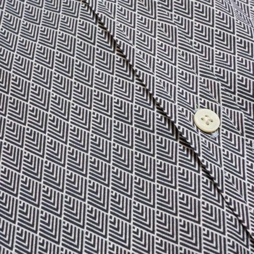 Far Afield Mod Button Down Long Sleeve Shirt a Navy Organic Cotton Classic Fabric Tailored Smart Casual 6