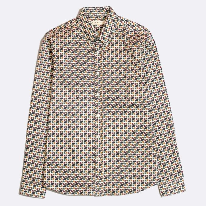 Far Afield Mod Button Down Long Sleeve Shirt a Multi Colour Organic Cotton Classic Fabric Tailored Smart Casual