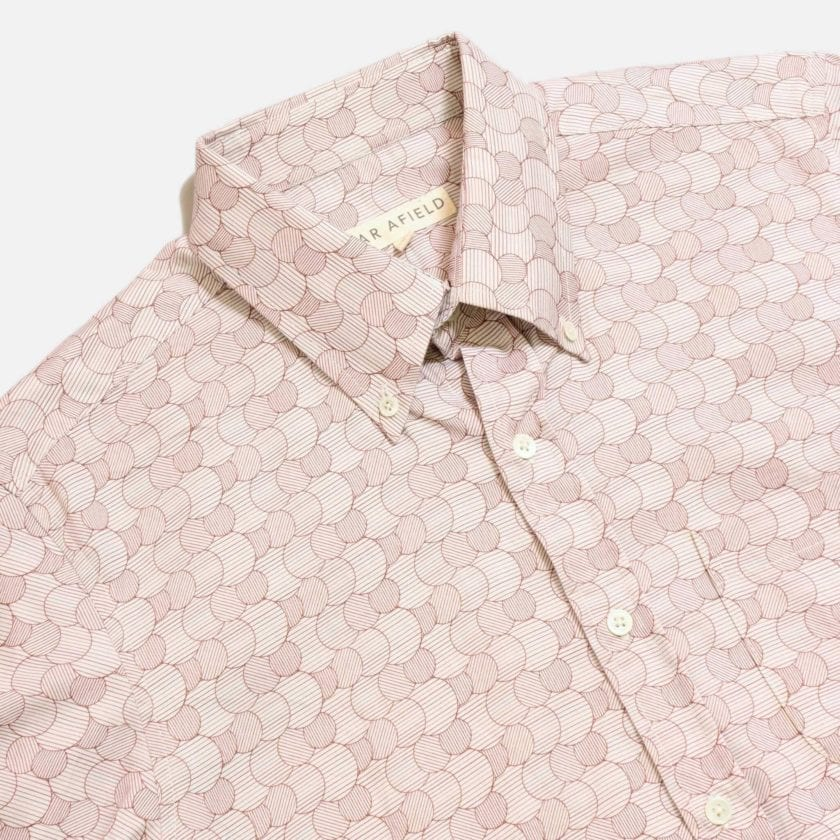 Far Afield Mod Button Down Long Sleeve Shirt a Maroon Organic Cotton Classic Fabric Tailored Smart Casual 5