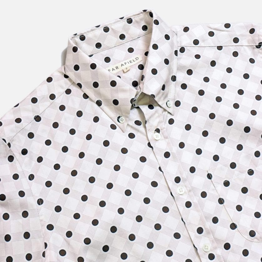 Far Afield Mod Button Down Long Sleeve Shirt a White Organic Cotton Classic Fabric Tailored Smart Casual 5