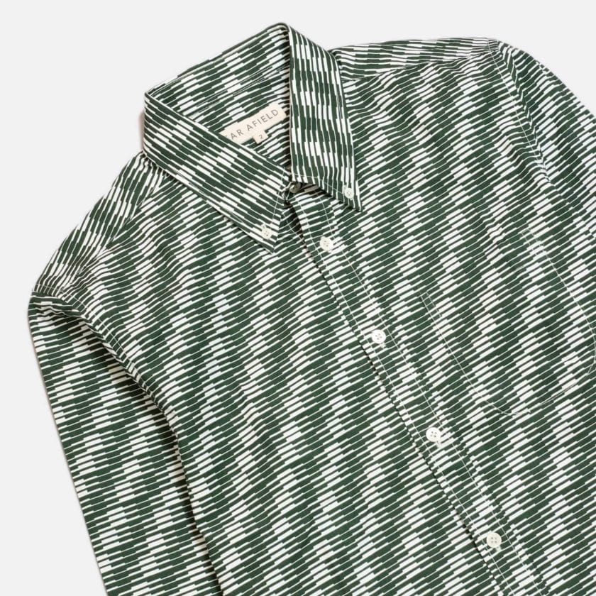 Far Afield Mod Button Down Long Sleeve Shirt a Green Organic Cotton Classic Fabric Tailored Smart Casual 5
