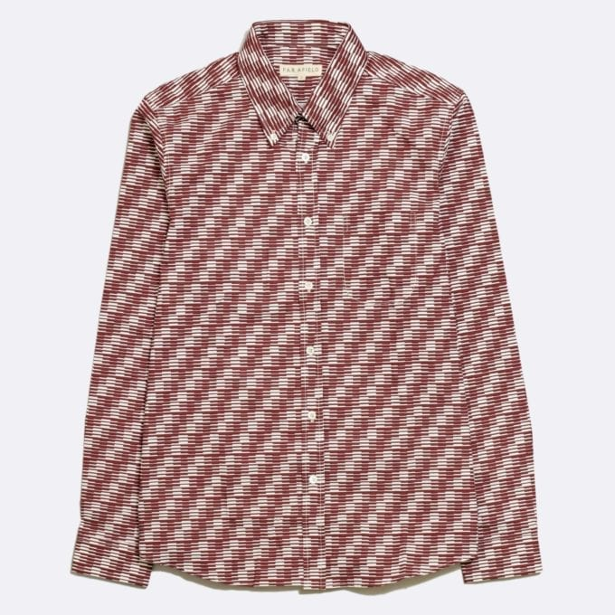 Far Afield Mod Button Down Long Sleeve Shirt a Maroon Organic Cotton Classic Fabric Tailored Smart Casual