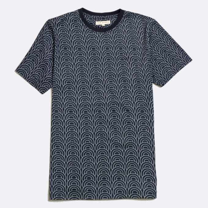 Far Afield Innerness Print T-Shirt a Dark Navy Organic Cotton with Circle Print Fabric Casual