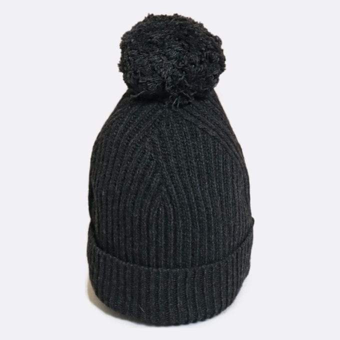 Far Afield Noddy Bobble Hat Knitted Beanie a Espresso Grey Cashmere Blend Knitted Beanie Casual