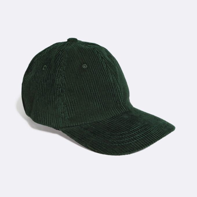 Far Afield Carlos Cap a Green Organic Cotton Corduroy Fabric Baseball Hat 5 Panel