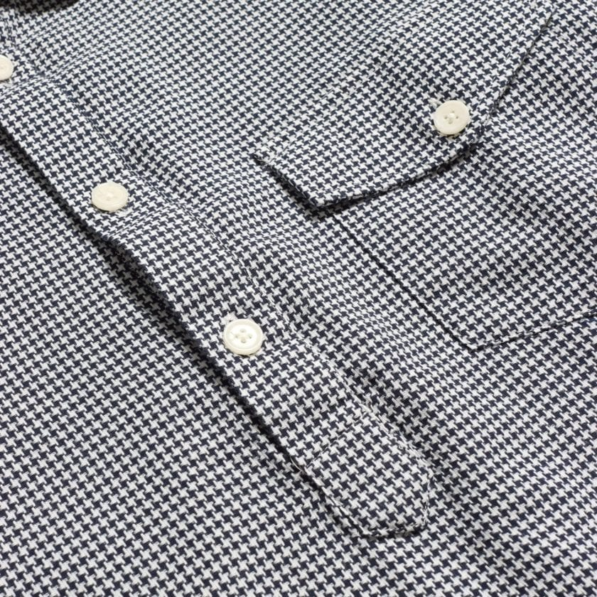 Far Afield Flap Pocket Pop Over Long Sleeve Shirt a Monochrome Cotton Up-Cycled Fabric Classic Menswear Smart Casual 7