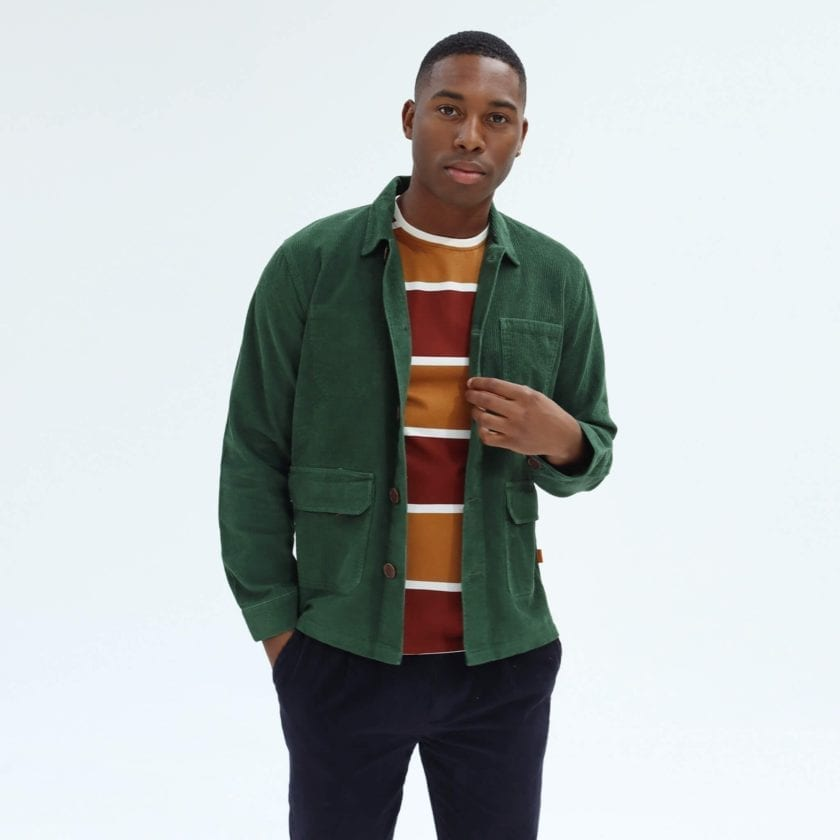 Far Afield Porter Jacket a Green Organic Cotton Corduroy Fabric Utility Overshirt Casual Work 2