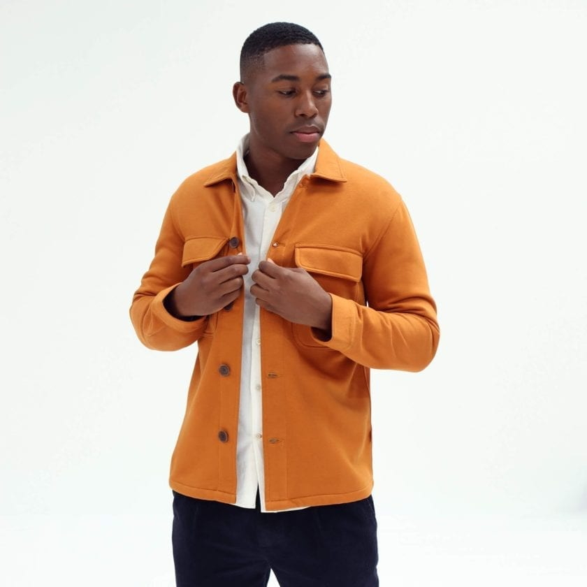 Far Afield Normsk Jacket a Orange BCI Cotton Fabric/Poly Fleece Utility Overshirt Casual Work 3