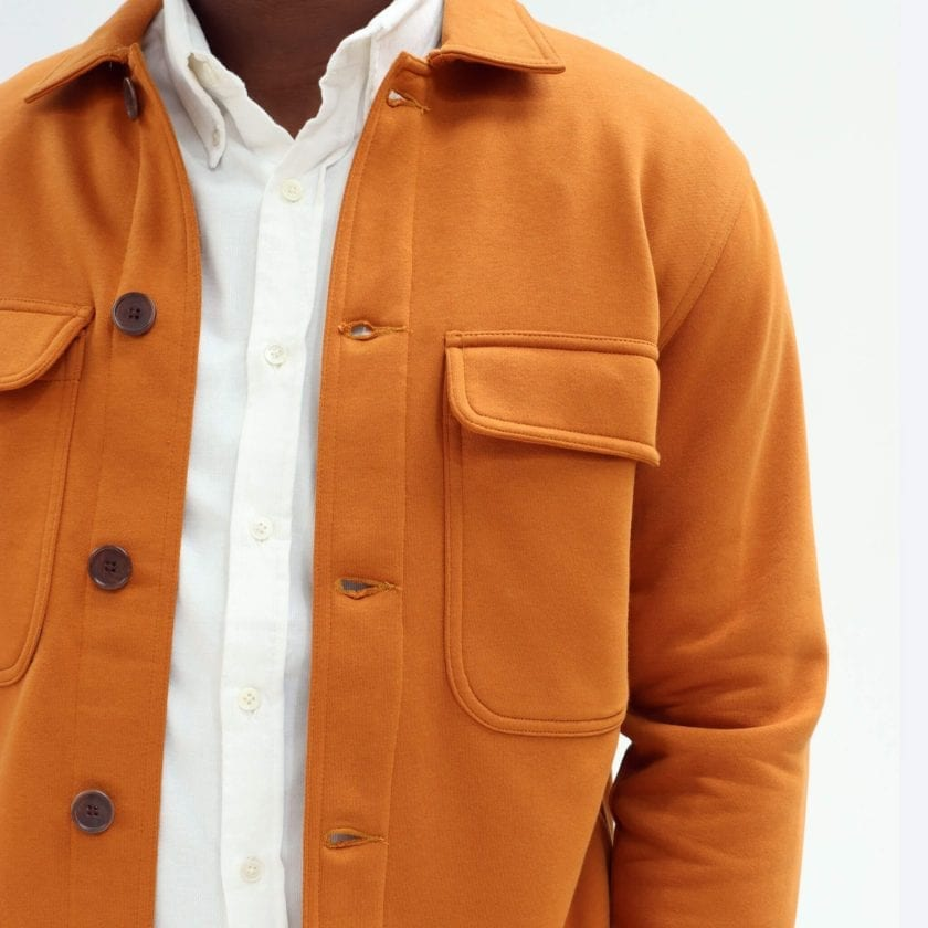 Far Afield Normsk Jacket a Orange BCI Cotton Fabric/Poly Fleece Utility Overshirt Casual Work 2