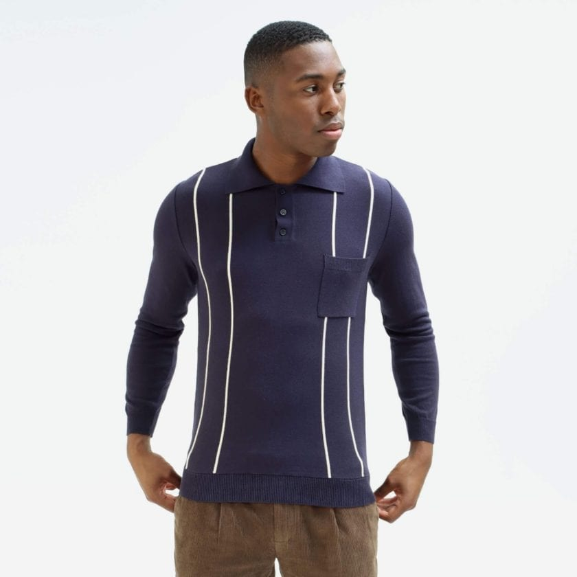 Far Afield Alfaro Long Sleeve Polo a Navy Organic Cotton Fabric Italian Mod Knitwear Smart Casual 3