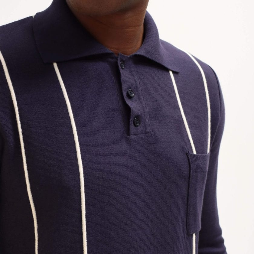 Far Afield Alfaro Long Sleeve Polo a Navy Organic Cotton Fabric Italian Mod Knitwear Smart Casual 4