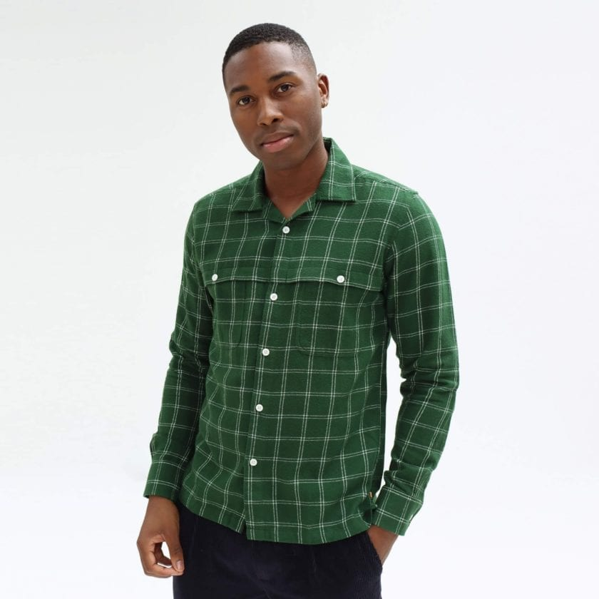Shirt with Straight Hem with Convertible Collar