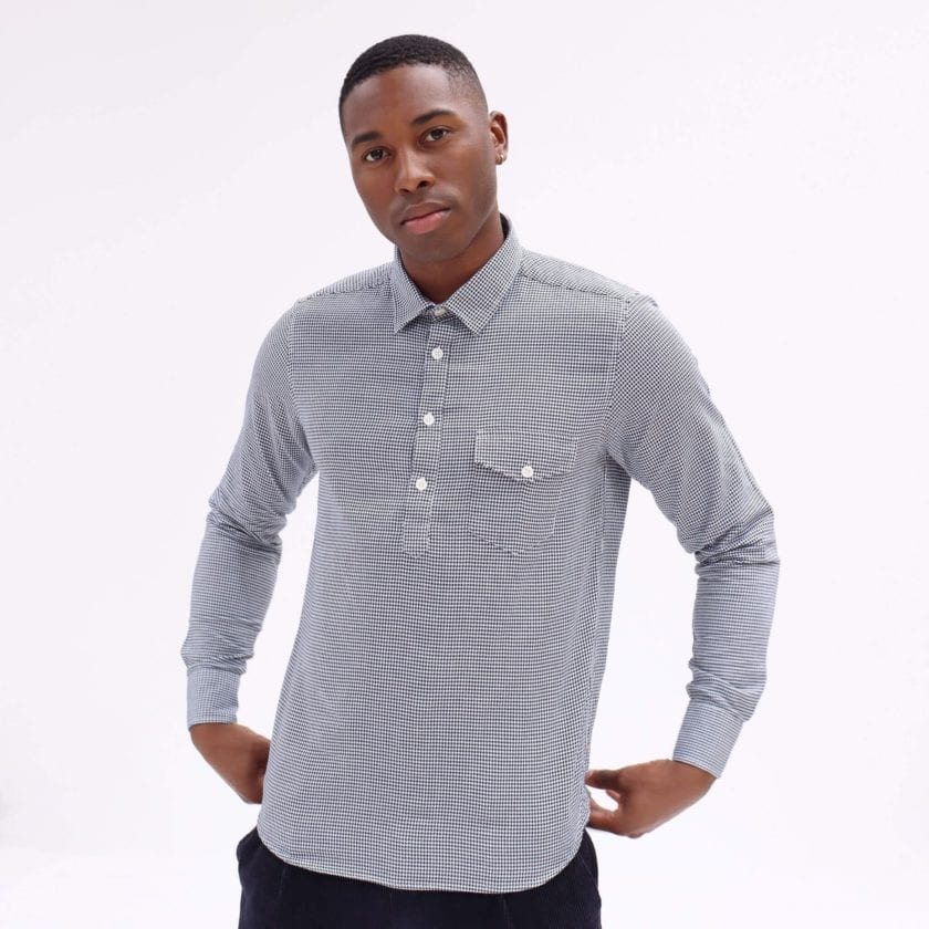 Far Afield Flap Pocket Pop Over Long Sleeve Shirt a Monochrome Cotton Up-Cycled Fabric Classic Menswear Smart Casual 3