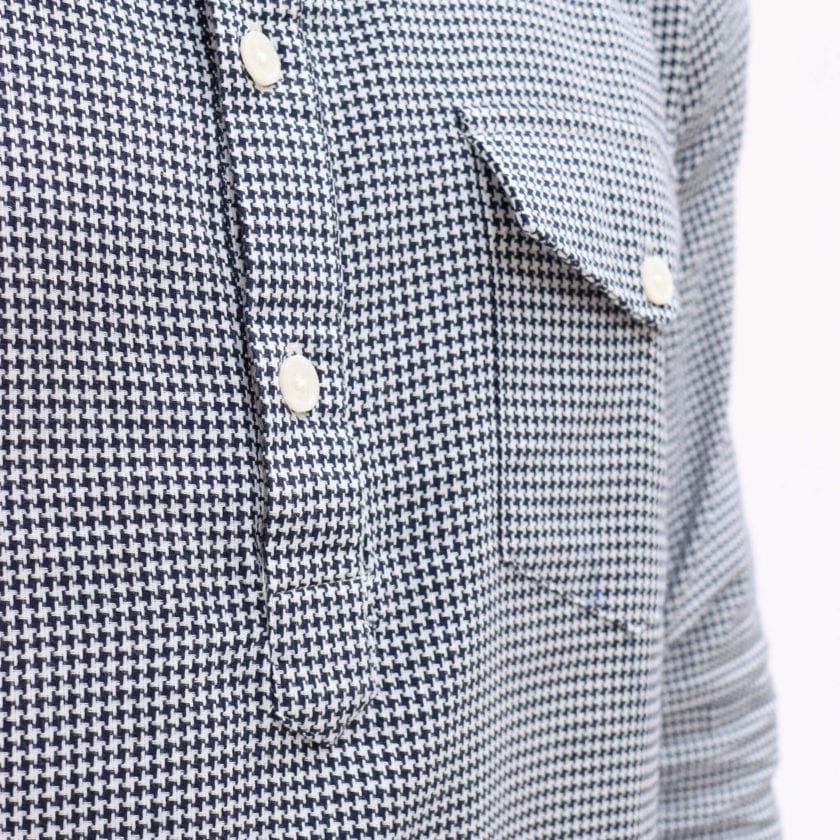 Far Afield Flap Pocket Pop Over Long Sleeve Shirt a Monochrome Cotton Up-Cycled Fabric Classic Menswear Smart Casual 2