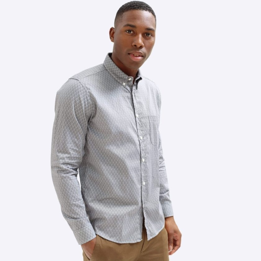Far Afield Mod Button Down Long Sleeve Shirt a Navy Organic Cotton Classic Fabric Tailored Smart Casual 3
