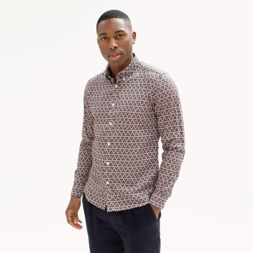 Far Afield Mod Button Down Long Sleeve Shirt a Maroon Organic Cotton Classic Fabric Tailored Smart Casual 3
