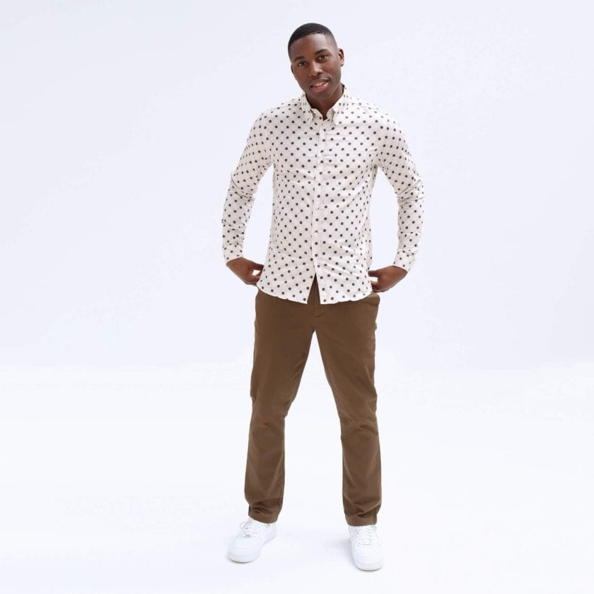 Far Afield Mod Button Down Long Sleeve Shirt a White Organic Cotton Classic Fabric Tailored Smart Casual 4
