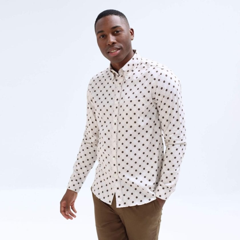 Far Afield Mod Button Down Long Sleeve Shirt a White Organic Cotton Classic Fabric Tailored Smart Casual 3