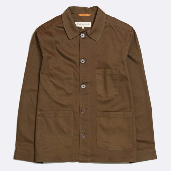 Far Afield Station Jacket a Dark Brown Organic Cotton Twill Fabric Utility Overshirt Casual Work