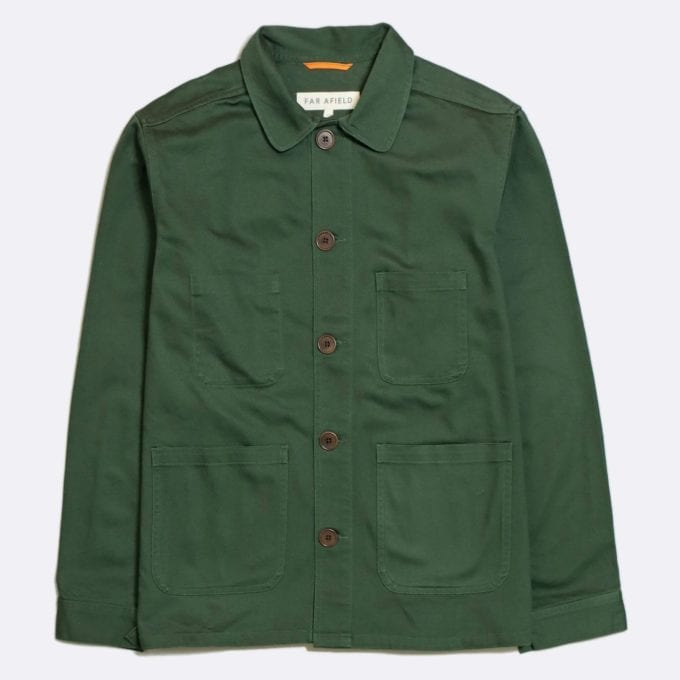 Far Afield Station Jacket a Green Organic Cotton Twill Fabric Utility Overshirt Casual Work