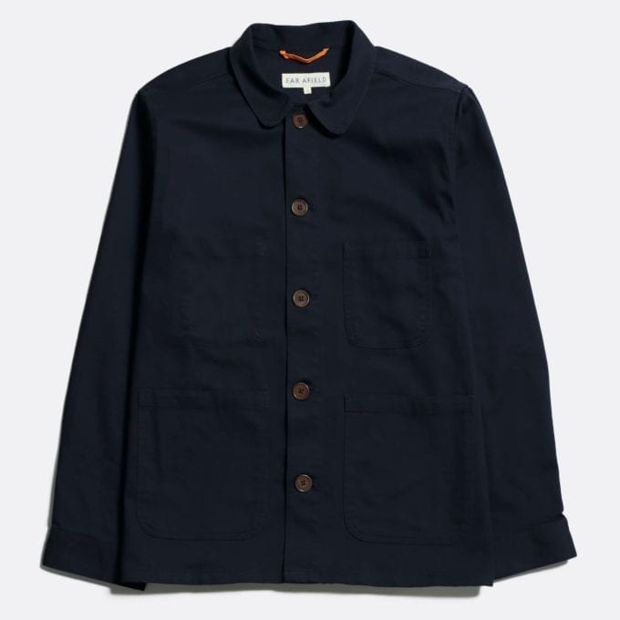 Far Afield Station Jacket a Dark Navy Organic Cotton Twill Fabric Utility Overshirt Casual Work