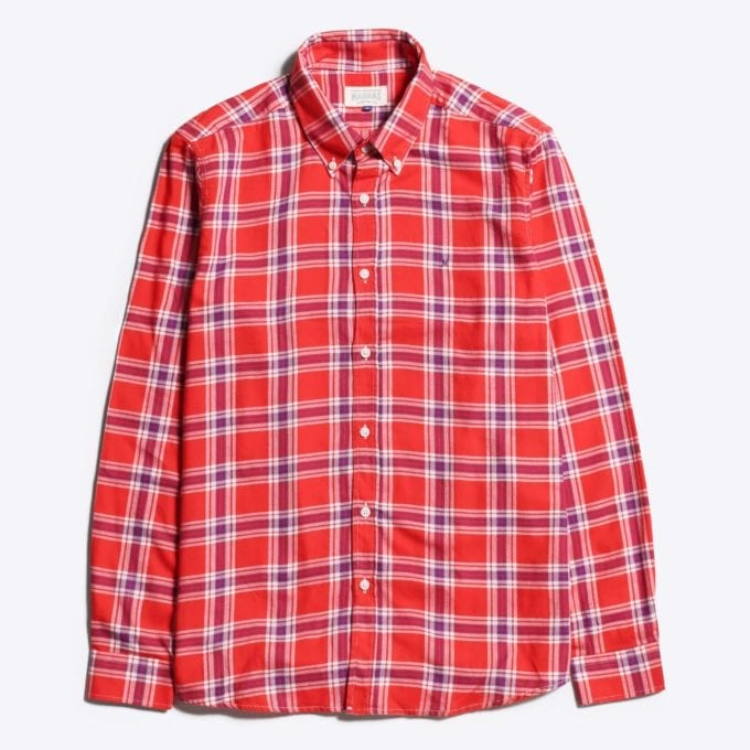 Madras Shirting Co' Mod Button Down Long Sleeve Shirt a Red Check Cotton Up-Cycled Fabric Classic Check Smart Casual