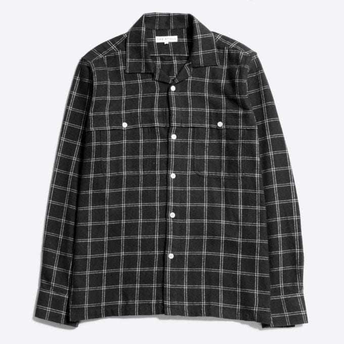Far Afield Bartos Long Sleeve Shirt a Dark Navy BCI Cotton/Cotton Twill Fabric Work Lumberjack Check Casual