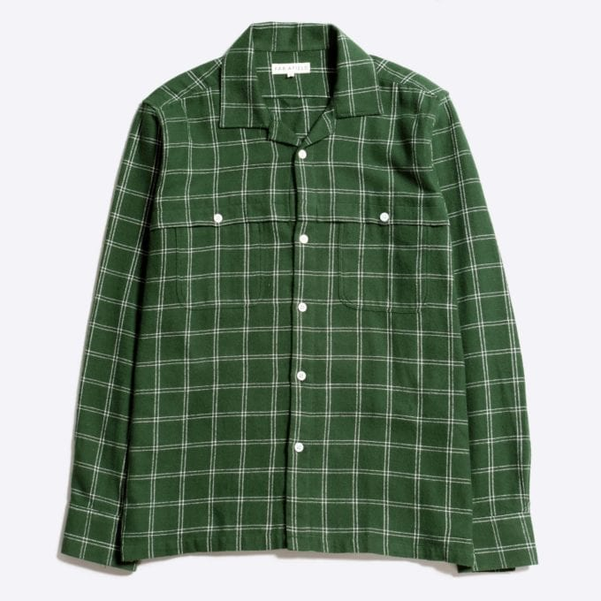 Far Afield Bartos Long Sleeve Shirt a Green BCI Cotton/Cotton Twill Fabric Work Lumberjack Check Casual