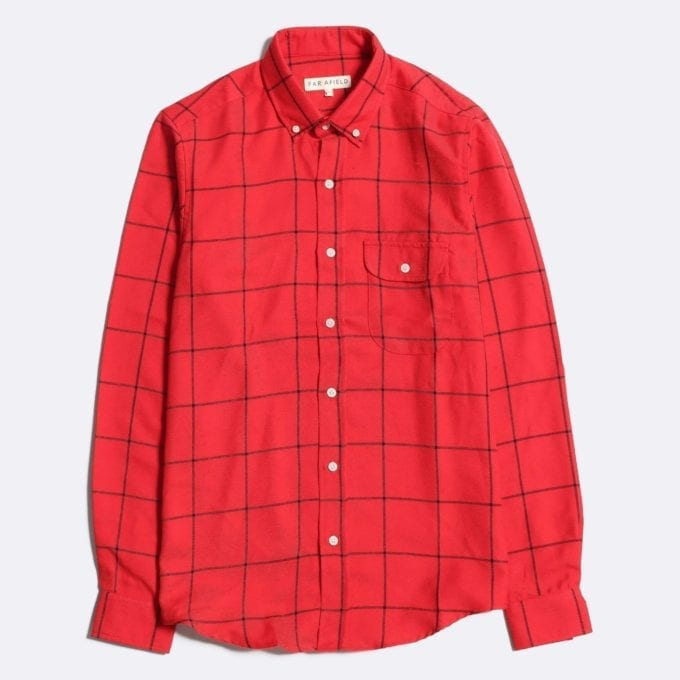 Far Afield Larry Long Sleeve Shirt a Deep Red Check Cotton Flannel Fabric Work Lumberjack Check Casual