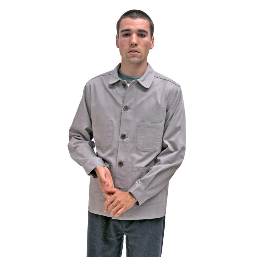 Far Afield Station Jacket a Cloudburst Grey Organic Cotton Twill Fabric Lightweight Utility Overshirt Classic Work 2