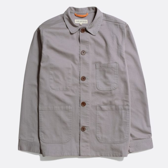Far Afield Station Jacket a Cloudburst Grey Organic Cotton Twill Fabric Lightweight Utility Overshirt Classic Work