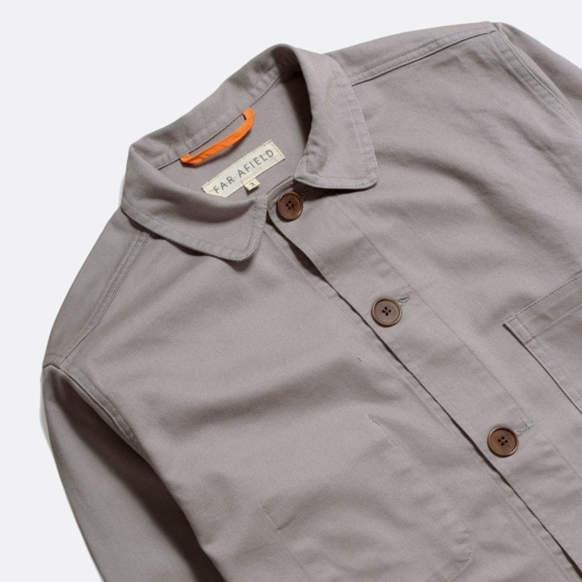 Far Afield Station Jacket a Cloudburst Grey Organic Cotton Twill Fabric Lightweight Utility Overshirt Classic Work 4