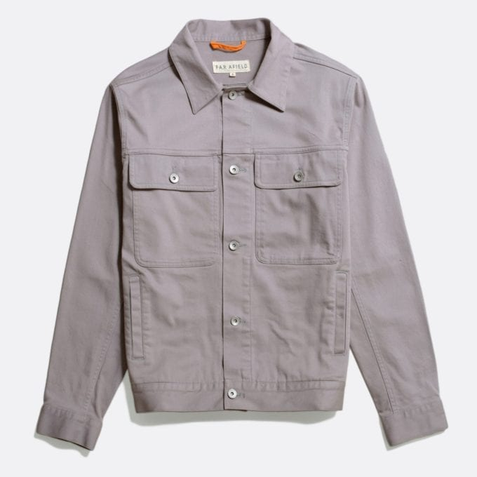 Far Afield Watts Jacket a Cloudburst Grey Organic Cotton Twill Fabric Lightweight Trucker Classic Work