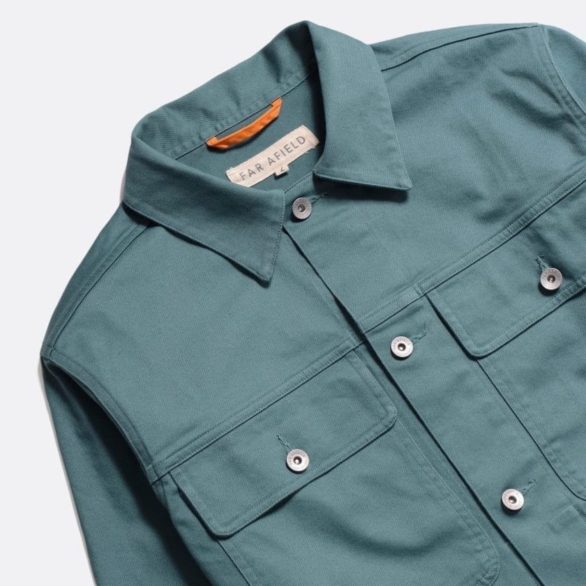 Far Afield Watts Jacket a Sagebrush Green Organic Cotton Twill Fabric Lightweight Trucker Classic Work 5