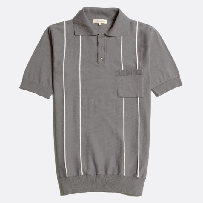 Far Afield Alfaro Short Sleeve Polo a Cloudburst Grey Organic Cotton Fabric Italian Mod Knitwear Mid Century Inspired