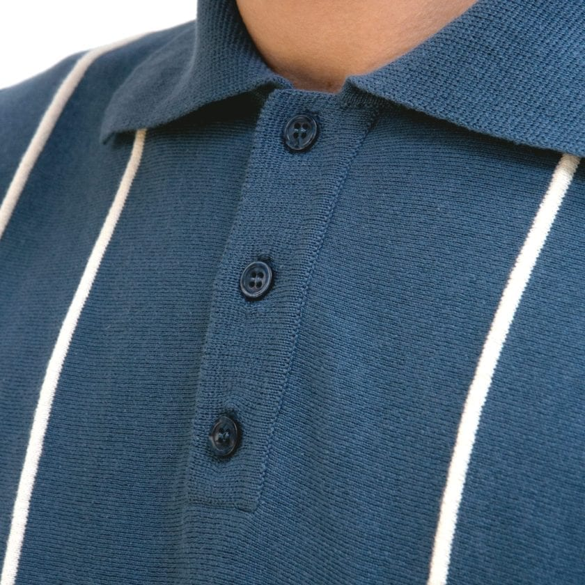 Far Afield Alfaro Short Sleeve Polo a Ensign Blue/White Sand Organic Cotton Fabric Italian Mod Knitwear Mid Century Inspired 3