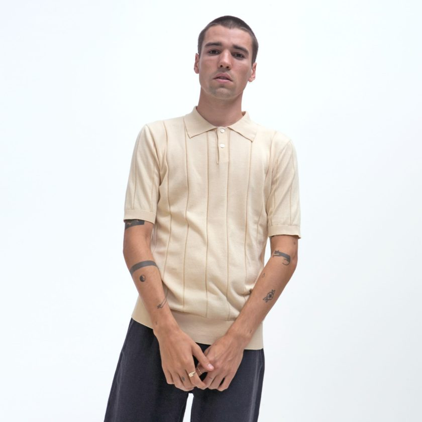 Far Afield Jacobs Short Sleeve Polo a Lambs White Organic Cotton FabricMid Century Inspired 2