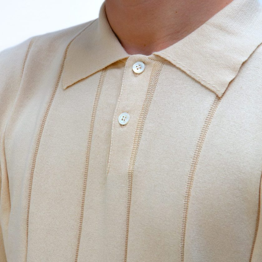 Far Afield Jacobs Short Sleeve Polo a Lambs White Organic Cotton FabricMid Century Inspired 3