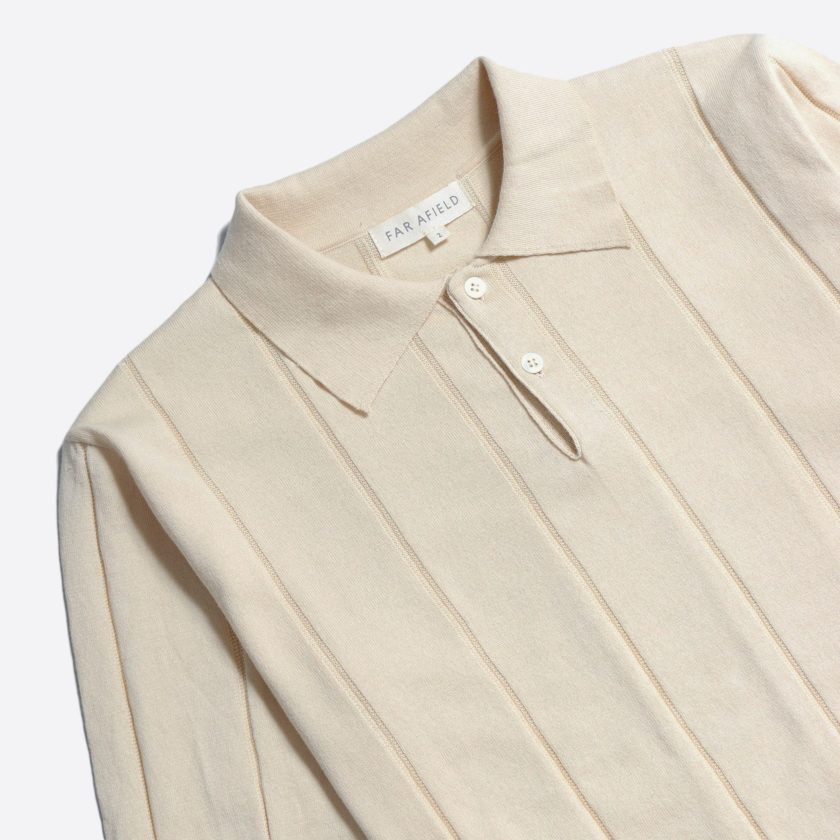 Far Afield Jacobs Short Sleeve Polo a Lambs White Organic Cotton FabricMid Century Inspired 4