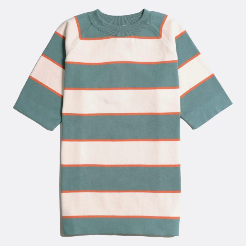 Far Afield Newport T-Shirt a Sagebrush Green/White Sand Organic Cotton Fabric Short Sleeve Mid Century Inspired