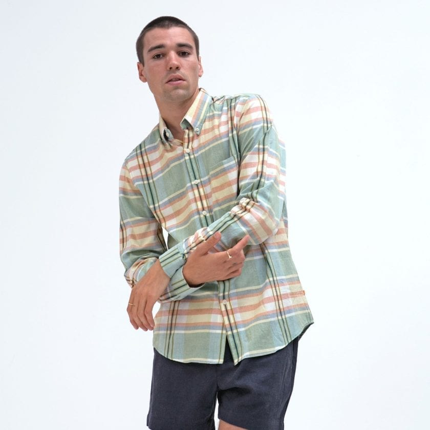 Far Afield x MSCo – Mod Button Down Long Sleeve Shirt a Doheny Check BCI Cotton Fabric Smart Casual 2