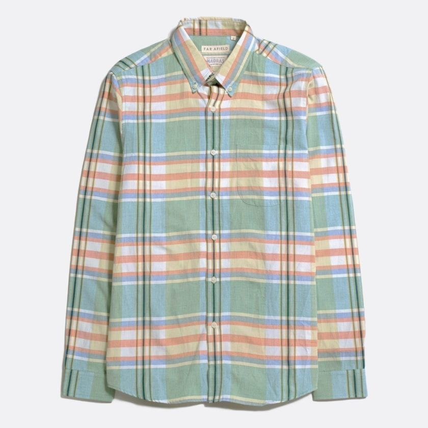 Far Afield x MSCo – Mod Button Down Long Sleeve Shirt a Doheny Check BCI Cotton Fabric Smart Casual