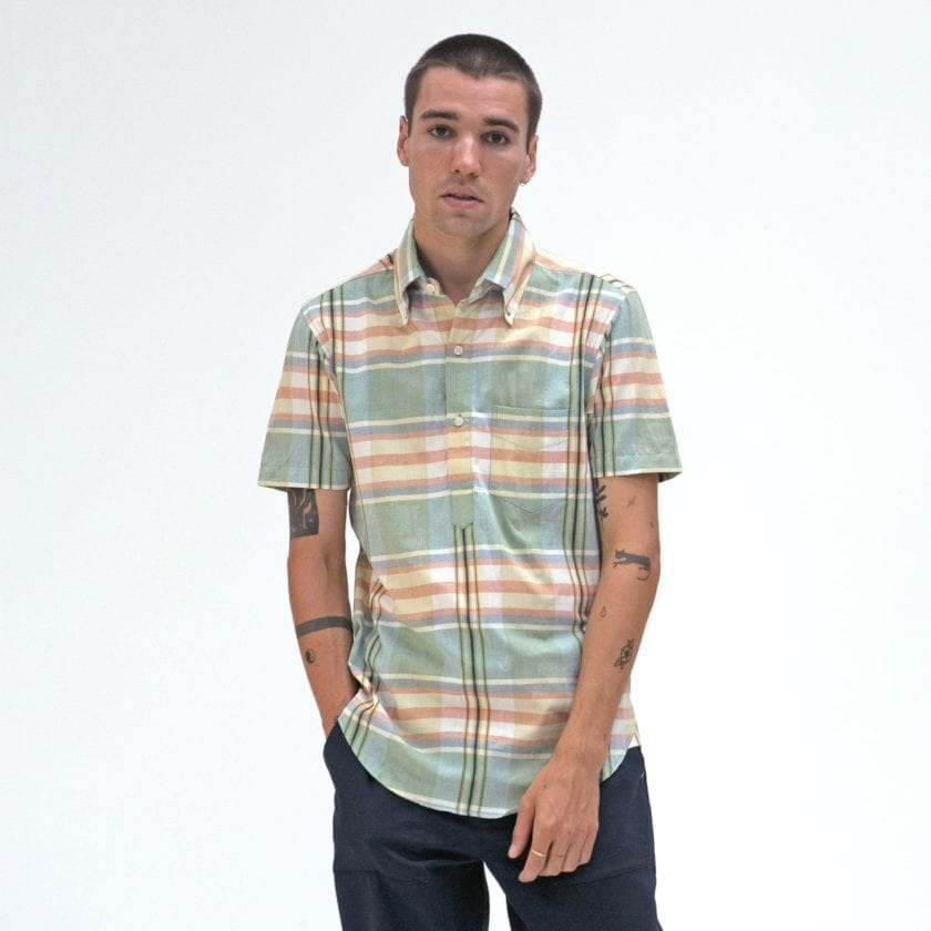 Far Afield x MSCo – Ivy Pop-Over Short Sleeve Shirt a Doheny Check BCI Cotton Fabric Mid Century Inspired 2