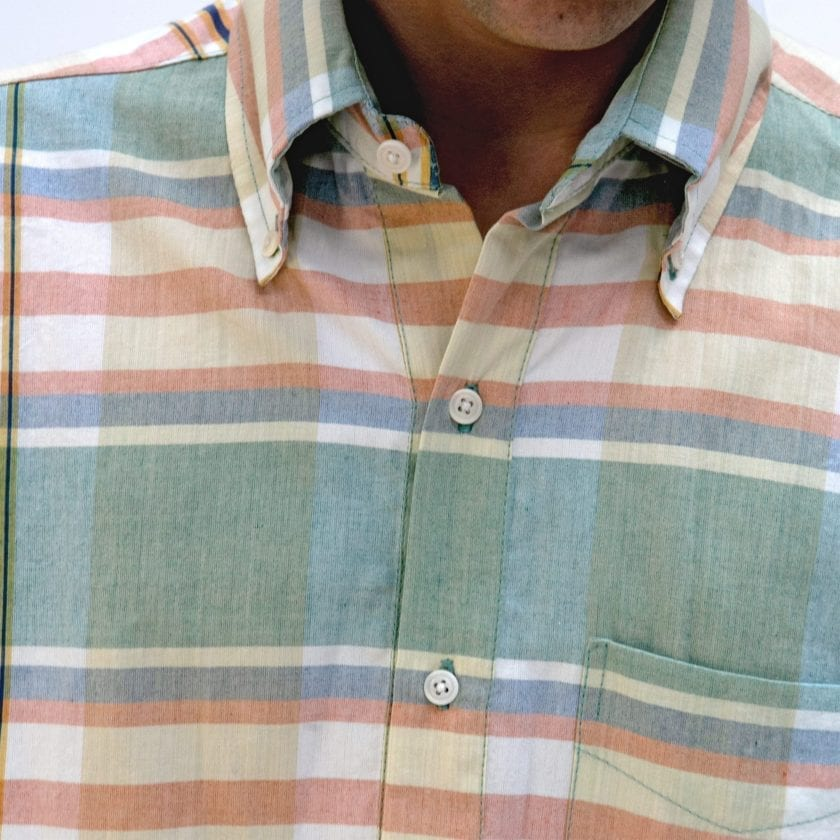 Far Afield x MSCo – Ivy Pop-Over Short Sleeve Shirt a Doheny Check BCI Cotton Fabric Mid Century Inspired 3
