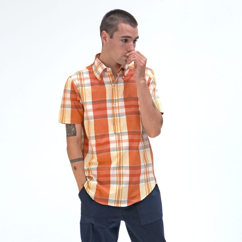 Far Afield x MSCo – Ivy Pop-Over Short Sleeve Shirt a Rincon Check BCI Cotton Fabric Mid Century Inspired 2