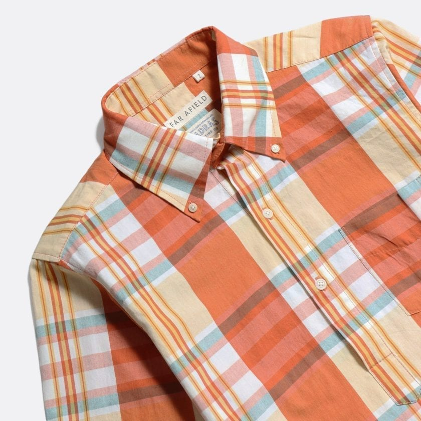 Far Afield x MSCo – Ivy Pop-Over Short Sleeve Shirt a Rincon Check BCI Cotton Fabric Mid Century Inspired 4